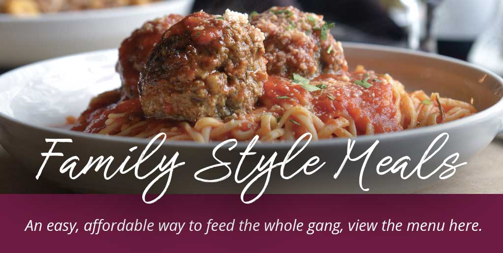Family Style Meals view menu